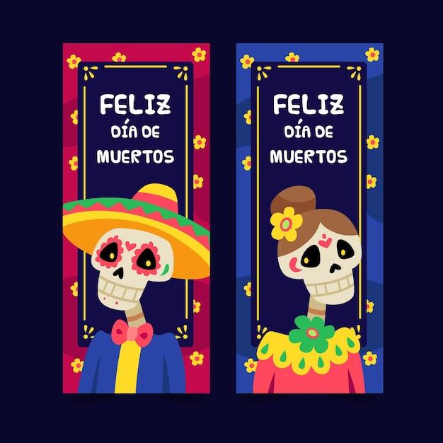 Płaskie Banery Día De Muertos Darmowych Wektorów