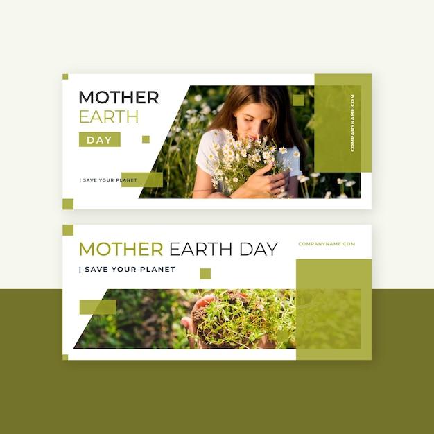 Płaskie Banery Dzień Matki Ziemi Ze Zdjęciem Darmowych Wektorów