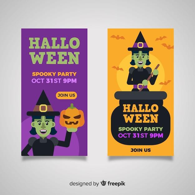 Płaskie Banery Halloween Z Czarownicami Darmowych Wektorów