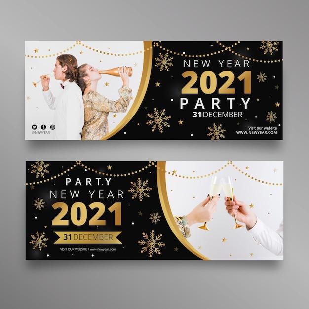 Płaskie Banery Partii Nowego Roku 2021 Darmowych Wektorów