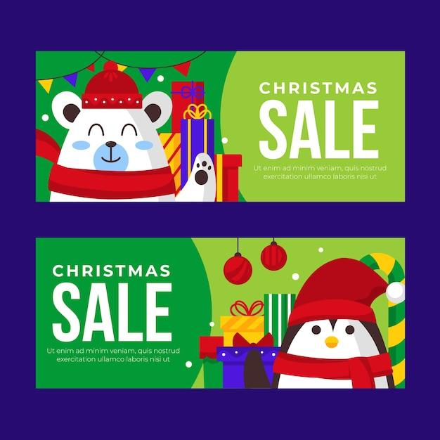 Płaskie Banery Sprzedaż Boże Narodzenie Darmowych Wektorów