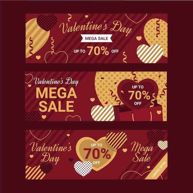 Płaskie Banery Sprzedaży Walentynki Darmowych Wektorów