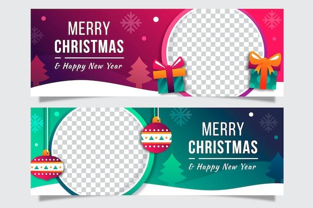Płaskie Banery świąteczne Szablon Darmowych Wektorów