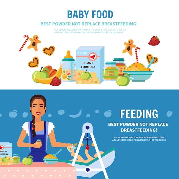 Płaskie banery żywności dla niemowląt Darmowych Wektorów