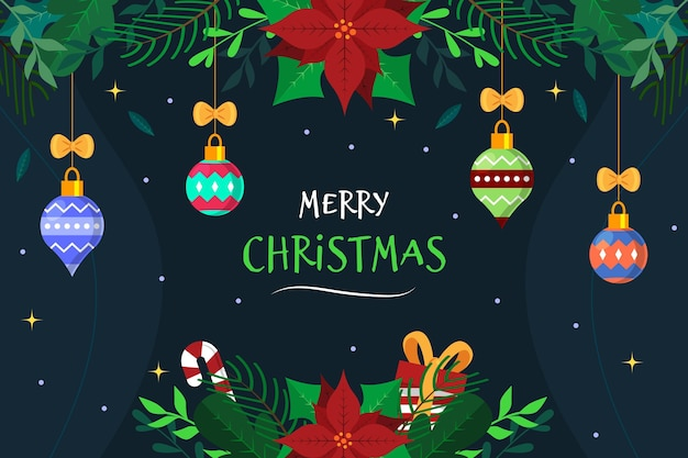 Płaskie Boże Narodzenie Globusy Tło Darmowych Wektorów