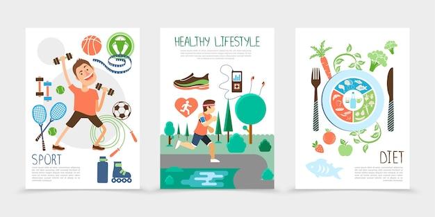 Płaskie Broszury Zdrowego Stylu życia Z Sportowcem Sprzęt Sportowy Człowieka Działającego W Parku Publicznym Owoce Ryby I Warzywa Ilustracja Darmowych Wektorów