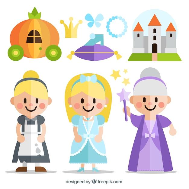 Płaskie Cinderella Story Znaków Darmowych Wektorów