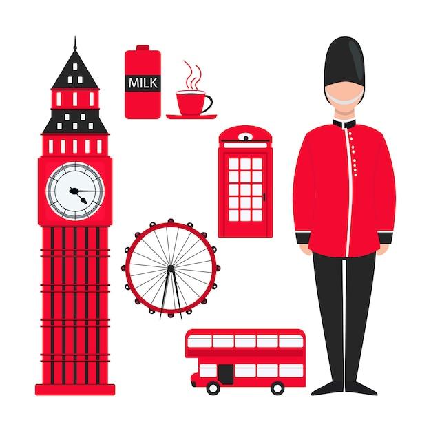 Płaskie czerwony londyn do projektowania dekoracji Premium Wektorów
