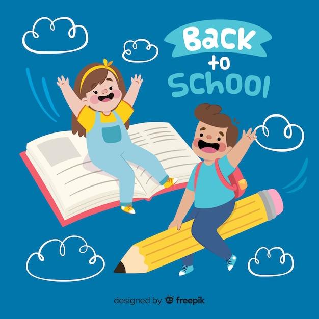Płaskie dzieci z powrotem do kolekcji szkolnej Premium Wektorów