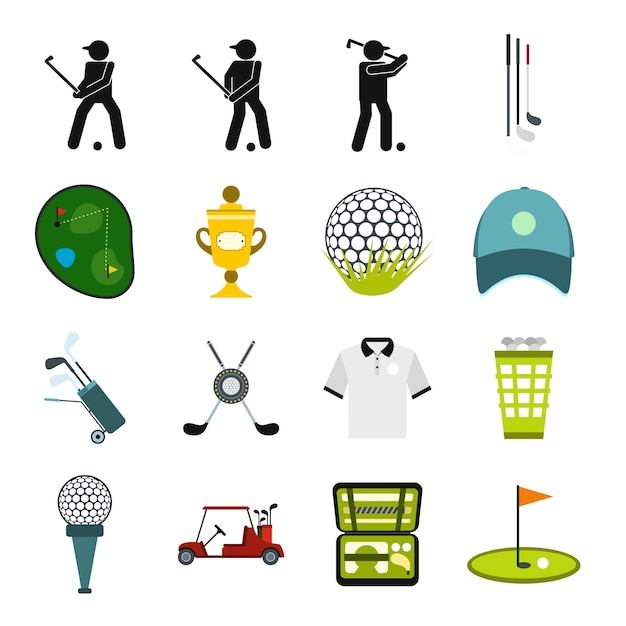 Płaskie elementy do golfa ustawione dla urządzeń internetowych i mobilnych Premium Wektorów