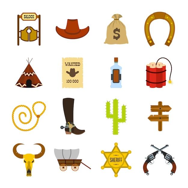 Płaskie Elementy Dzikiego Zachodu Kowbojem Ustawione Dla Sieci I Urządzeń Mobilnych Premium Wektorów