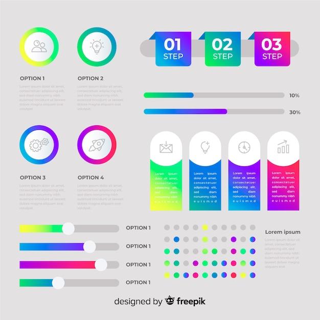 Płaskie elementy infographic z kolekcji statystyki Darmowych Wektorów