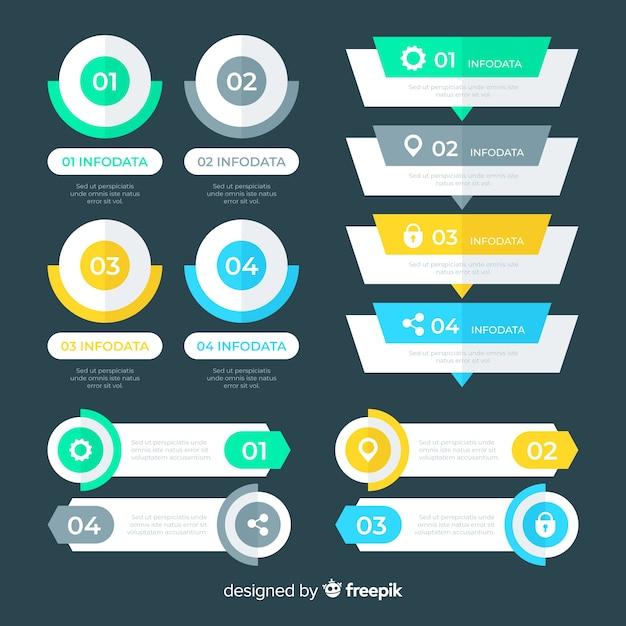 Płaskie elementy infographic Darmowych Wektorów
