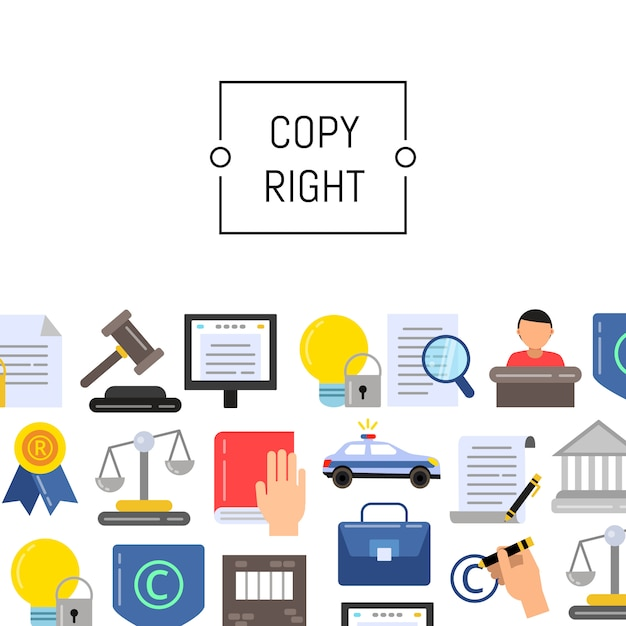 Płaskie elementy praw autorskich z miejscem na tekst Premium Wektorów