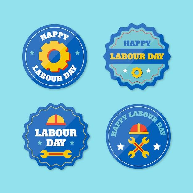 Płaskie Etykiety Na Dzień Pracy Darmowych Wektorów