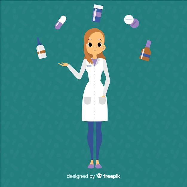 Płaskie farmaceuty uczestniczących w tle klientów Darmowych Wektorów