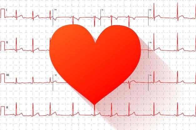 Płaskie ikona czerwone serce na typowym wykresie elektrokardiogram człowieka ze znakami Premium Wektorów