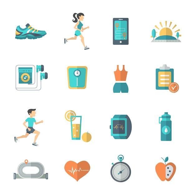 Płaskie ikony joggingu Darmowych Wektorów