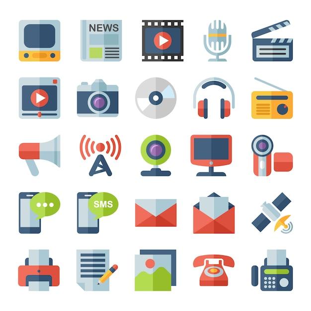 Płaskie ikony mediów i komunikacji. Premium Wektorów