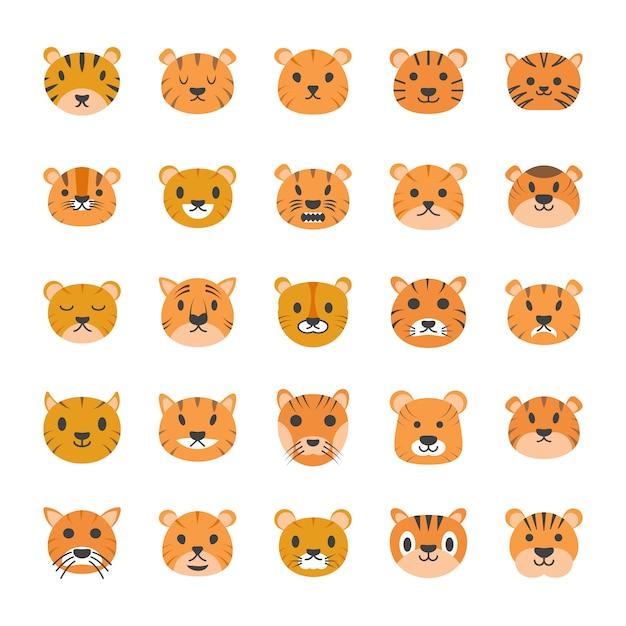 Płaskie Ikony Tygrys Twarzy Premium Wektorów