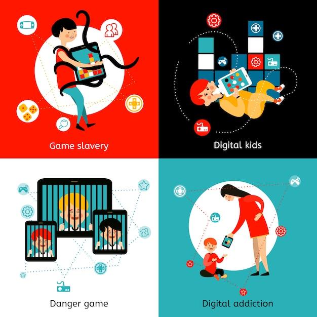 Płaskie ikony uzależnienia od internetu dla dzieci Darmowych Wektorów