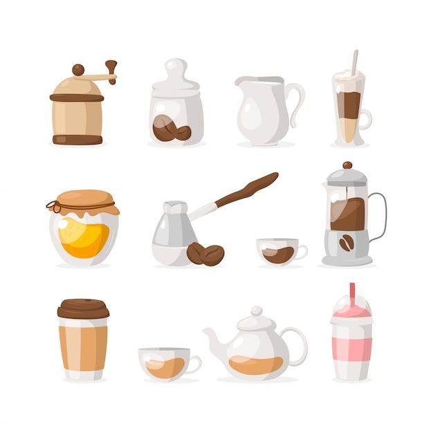 Płaskie Ikony Zestaw Kawy / Herbaty Na Białym Tle: Młynek, Ziarna Kawy, Miód, Frappe, Kawa Na Wynos, Herbata, Mleko, Koktajl Mleczny Itp Premium Wektorów