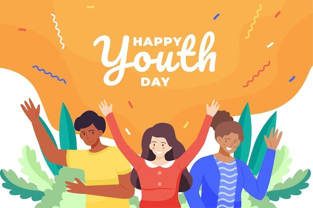 Płaskie Ilustracja Obchodów Dnia Młodzieży Darmowych Wektorów