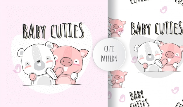 Płaskie Ilustracja Słodkie Zwierzęta Niedźwiedź Dziecko Ze świni Premium Wektorów
