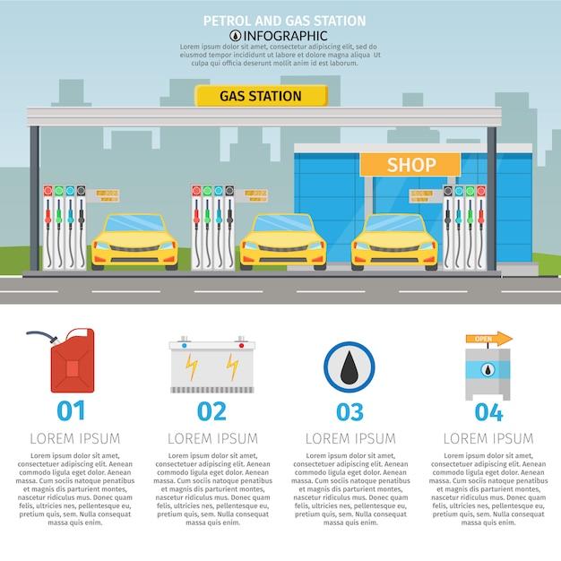 Płaskie Ilustracja Stacji Benzynowej Usługi Olejowej Z Elementami Infografiki Sklepowe Premium Wektorów