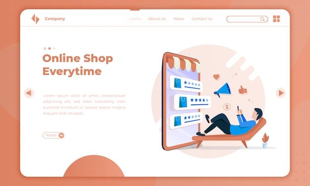 Płaskie Ilustracja Zakupy Online Za Każdym Razem Na Stronie Docelowej Premium Wektorów