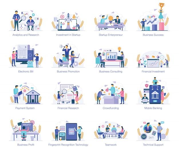 Płaskie ilustracje wektorowe pojęciowy Premium Wektorów