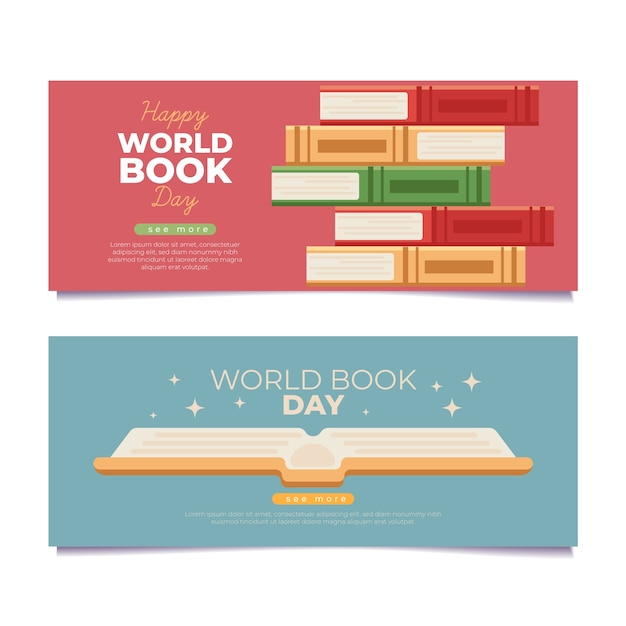 Płaskie Ilustrowany światowy Dzień Książki Banery Darmowych Wektorów