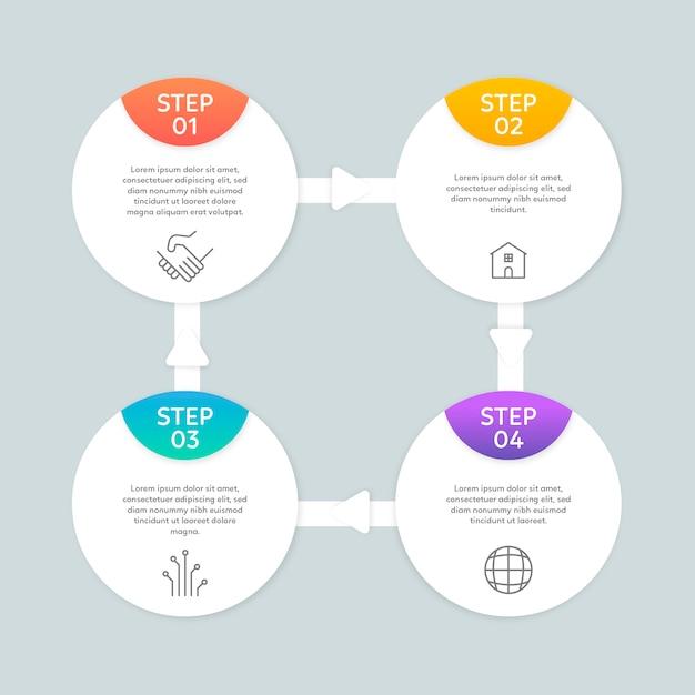 Płaskie infographic kroki Darmowych Wektorów