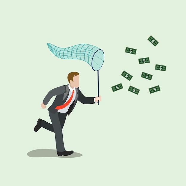 Płaskie Izometryczne Pieniądze łapanie Koncepcji Biznesowej Darmowych Wektorów