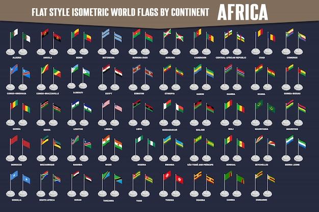 Płaskie Izometryczny Flagi Kraju Afryki Premium Wektorów