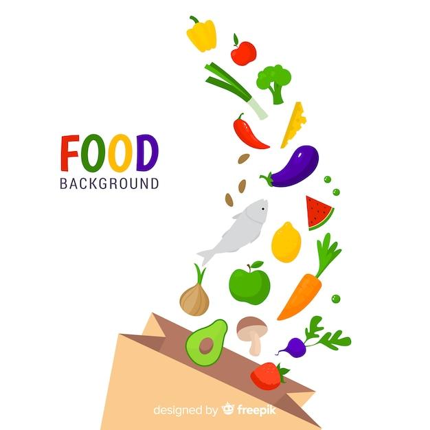 Płaskie jedzenie tło Darmowych Wektorów