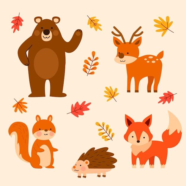 Płaskie Jesienne Zwierzęta Leśne Darmowych Wektorów