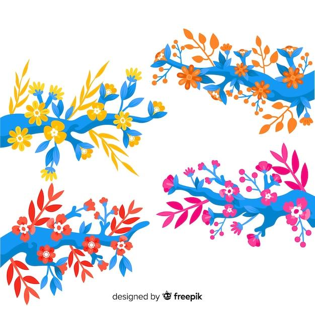 Płaskie Kolorowe Gałązki Kwiatowe W Ciepłych Kolorach Darmowych Wektorów
