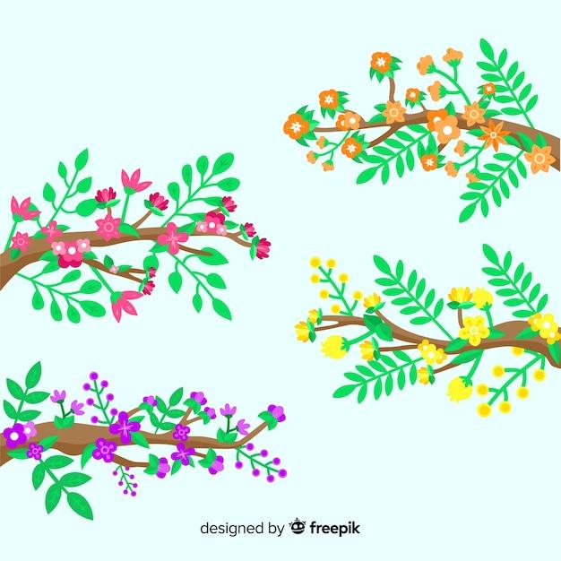 Płaskie Kolorowe Gałęzie Kwiatowy Na Zielonym Tle Darmowych Wektorów