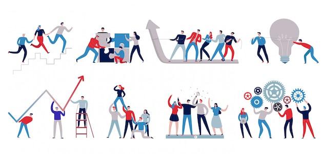 Płaskie Kolorowe Ikony Pracy Zespołowej Z Personelu Pracującego Razem Na Białym Tle Darmowych Wektorów