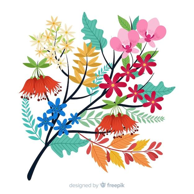 Płaskie Kolorowe Oddział Kwiatowy Na Białym Tle Darmowych Wektorów