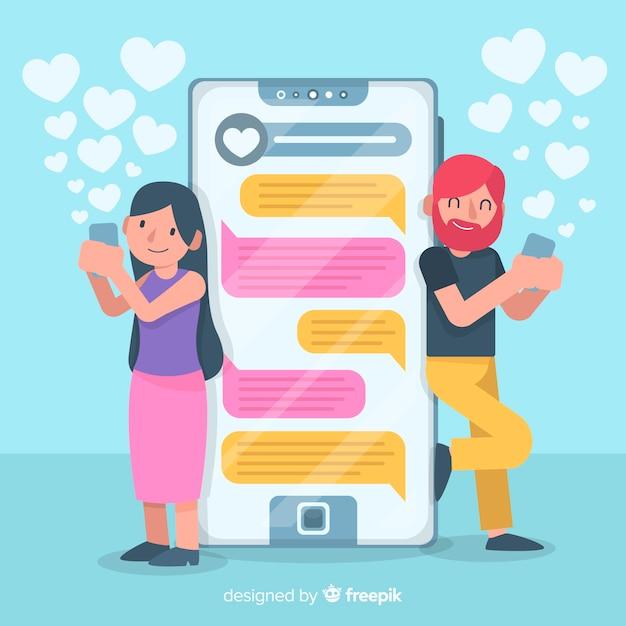 Płaskie kolorowe postacie na czacie w aplikacji randkowej Darmowych Wektorów