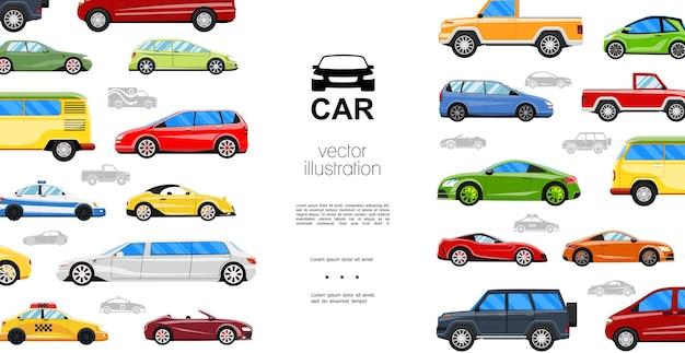 Płaskie Kolorowe Samochody Szablon Darmowych Wektorów