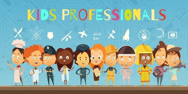 Płaskie kompozycja kreskówka z grupą dzieci ubrane w stroje profesjonalistów Darmowych Wektorów