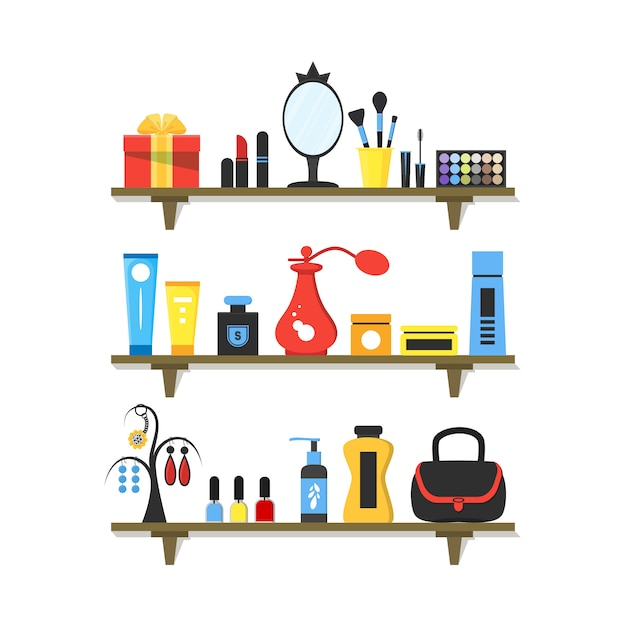 Płaskie kosmetyki na półkach Premium Wektorów