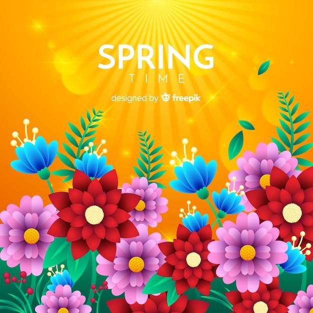 Płaskie Kwiaty Wiosną Tło Darmowych Wektorów