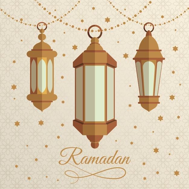Płaskie Lampy Ramadan Darmowych Wektorów