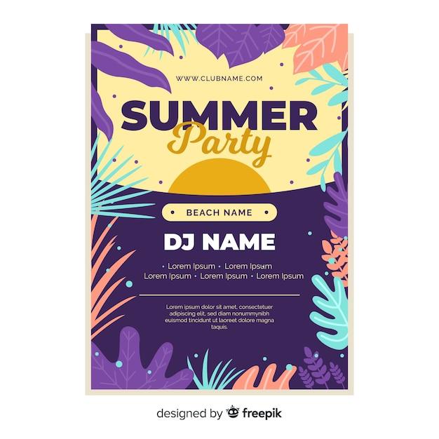 Płaskie Lato Party Plakat Szablon Darmowych Wektorów