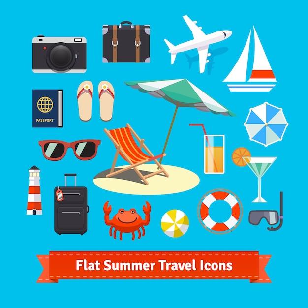 Płaskie letnie ikony podróży. wakacje i turystyka Darmowych Wektorów