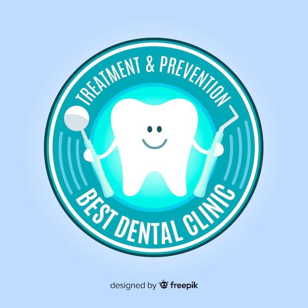 Płaskie Logo Kliniki Stomatologicznej Darmowych Wektorów